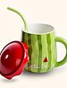 sugrör kreativa söt vattenmelon stil keramikmugg kopp