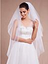Voal de Nuntă Două Straturi Voaluri de Obraz Voaluri Lungime Până la Vârfurile Degetelor Margine Tăiată Tul Alb Ivoriu
