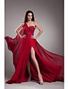 Serata formale Vestito Linea-A Monospalla Strascico di corte Chiffon con Perline / Dettagli con cristalli