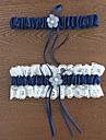 Garter Polyester Flower Lace Blue
