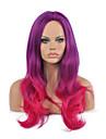 två ton färg lila och fuxia långt vågigt hår cosplay syntetisk peruk