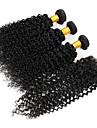 3st buntar brasilianska jungfru hårweften med 1st spets stängning obearbetade djupt lockigt våg # 1b hår