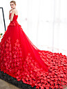 Da ballo Abito da sposa Strascico da cattedrale Senza spalline Raso / Tulle con Fiore decorativo