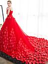 Rochie de mireasa strapless catedra tren satin rochie de mireasa cu flori