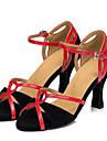 Chaussures de danse (Noir) - Non personnalisable - Talon aiguille - Satin - Danse latine