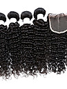 malaysiska jungfru hår 4 buntar med stängning malaysianen lockigt hår med stängning kinky lockigt människohår nedläggning