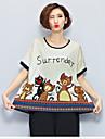 Femei Rotund Bluză Casul/Zilnic Drăguț(e),Imprimeu Animal Manșon scurt Vară-Bej Subțire Bumbac
