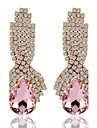 Droplets Rhinestone Bridal Noble Pink Crystal Drop Earrings
