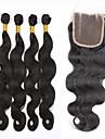 7a grade obearbetat jungfru hår peruansk förkroppsligar vinkar 4bundles med spets stängning SLOVE mänsklig jungfruligt hår