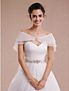 Women\'s Wrap Capelets Sleeveless Tulle Ivory / Champagne Wedding / Party/Evening Bateau Bow / Rhinestone Hidden Clasp