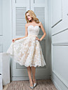 Knee-length Lace / Satin Bridesmaid Dress A-line Sweetheart with Buttons / Lace