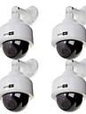 dummy camera dome de vitesse 4pcs camera de surveillance de la securite exterieure simulee blanche