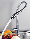 Contemporain Pull-out / Pull-down Montage Pivotant with  Soupape ceramique Mitigeur un trou for  Chrome , Robinet de Cuisine