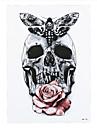 9pcs nya grå fjäril skalle ros blomma arm kropp konst tatuering klistermärke vattentät tillfälligt organ konst tatuering färg klistermärke