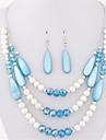 Set bijuterii Cristal Perle Scoică Bohemia Stil La modă Negru Rosu Verde Albastru Curcubeu Colier / cercei Petrecere Zilnic Casual 1set