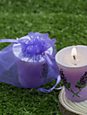 Lavender Design Candle Favors, Wedding Gifts In Organza Bag