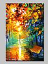 stor duk oljemålning handmålade modern abstrakt landskap väggkonst med sträckt ram redo att hänga