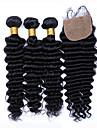 Trame cheveux avec fermeture Cheveux Bresiliens Ondulation profonde tissages de cheveux