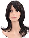 naturlig lång längd svart färg populära rakt syntetisk peruk för kvinna