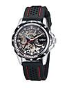 WINNER Bărbați Ceas de Mână ceas mecanic Mecanism automat Gravură scobită Silicon Bandă Luxos Negru Alb Negru