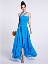 2017 Lanting Bride® Asymmetrical Chiffon Bridesmaid Dress - A-line One Shoulder with Draping
