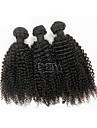 3pcs / lot mongoliska hår vävning afro kinky lockigt mänskliga hårförlängningar naturligt svart 8 \'\' - 30 \'\' människohår väver