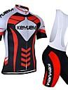 KEIYUEM® Cykeltröja med Bib-shorts Unisex Kort ärm CykelAndningsfunktion / Snabb tork / Damm säker / Bärbar / Kompression / Back Pocket /