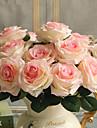 1 1 Une succursale Polyester / Plastique Roses Fleur de Table Fleurs artificielles 17.7inch/45cm