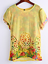 Women\'s Casual/Daily Simple Summer Blouse,Print Round Neck Short Sleeve Yellow Medium