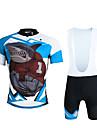 ILPALADINO Cykeltröja med Haklapp-shorts Herr Unisex Kort ärm Cykel Bib Shorts Tröja KlädessetSnabb tork UV-Resistent Andningsfunktion