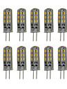 3W G4 LED-lampor med G-sockel T 24 SMD 3014 300 lm Varmvit / Kallvit Dekorativ DC 12 V 10 st
