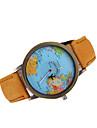 Bărbați Ceas Elegant Quartz Quartz Japonez Ceas Casual World Map Pattern Piele Bandă Negru Alb Maro MulticolorNegru Galben Rosu Verde
