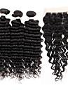 Trame cheveux avec fermeture Cheveux Bresiliens Ondulation profonde 4 Pieces tissages de cheveux