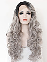 2 toner syntetisk spets front peruk grå svart ombre vågiga peruker högsta kvalitet