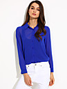 Women\'s Solid Shirt, Shirt Collar Long Sleeve