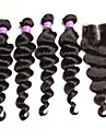 cheveux vierge brazilian 6a avec fermeture 4 pieces laches extensions de cheveux d\'onde avec 1 pc dentelle 4x4 fermeture
