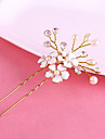 Women\'s Gold Diasy Flower Shape U Hair Stick Pin for Wedding Party Hair Jewelry with Pearl Crytsal
