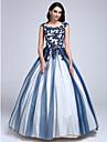 TS Couture® Ball Kleid Ballkleid Rundhalsausschnitt Boden-Laenge Spitze / Tuell mit Applikationen / Perlstickerei