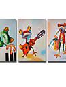 Peint a la main Animal Peintures a l\'huile,Modern Trois Panneaux Toile Peinture a l\'huile Hang-peint For Decoration d\'interieur