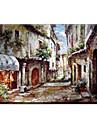 olje~~POS=TRUNC Landskap Stil / Moderna / Klassisk / Traditionellt / Realism / Medelhavet / Parfymerad / Europeisk Stil,En panel Kanvas