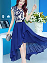 Women\'s V Neck Chiffon Short Sleeve Asymmetrical Dress (More Colors)