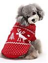 Katter / Hundar Tröjor Röd / Blå Hundkläder Vinter Ren Håller värmen / Jul