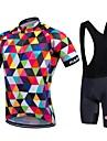 Fastcute® Maillot et Cuissard a Bretelles de Cyclisme Homme Unisexe Manches courtes VeloSechage rapide Zip frontal Vestimentaire Haute