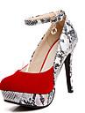 Homme-Exterieure / Bureau & Travail / Decontracte-Noir / Rouge-Talon Aiguille-Talons / Bout Arrondi-Chaussures a Talons-Similicuir