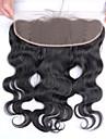 8-20 inch Svart Handknuten Kroppsvågor Mänskligt hår Stängning Medium Brun Schweizisk spets 70g-150g gram Medel Cap Storlek