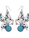 Beautiful Tibetan Silver Turquoise Rhinestone Butterfly Dangle Earrings For Women Girls Vintage Jewelry