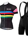 KEIYUEM® Cykeltröja med Bib-shorts Unisex Kort ärm CykelAndningsfunktion / Snabb tork / Damm säker / Bärbar / Back Pocket / Stretch /