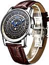 AngelaBOS Bărbați Ceas Elegant Ceas La Modă ceas mecanic Mecanism automat Calendar Rezistent la Apă Luminos Piele Bandă Cool Casual Maro