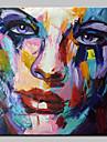 Peint a la main Abstrait / Personnage / Portraits Abstraits Peintures a l\'huile,Modern Un Panneau Toile Peinture a l\'huile Hang-peint For