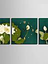 Moderne/Contemporain Fleurs / Botaniques Horloge murale,Carre Toile 30 x 60cm(20inchx20inch)x2pcs+ 60 x 60cm(24inchx24inch)x1pcs Interieur